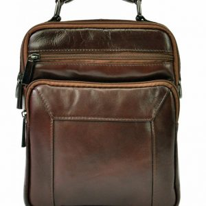 GIORGIO Kožená tmavo hnedá pánska taška 18x24x10 cm