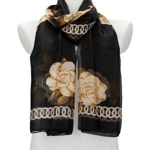 Dámska letná šatka / šál 179×100 cm čierna s kvetmi
