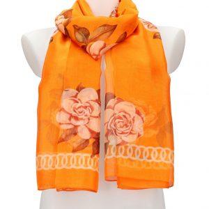 Dámska letná šatka / šál 179×100 cm oranžová s kvetmi