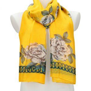 Dámska letná šatka / šál 179×100 cm žltá s kvetmi