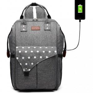 KONO Šedý materský batoh s bodkami a USB vhodný aj na kočík