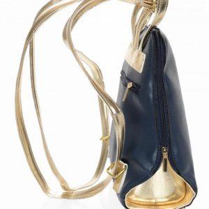 Elegantný dámsky módny batôžtek modro-zlatý