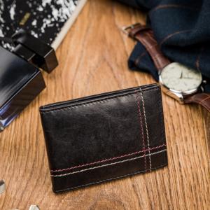 Kožená čierna malá tenká peňaženka iba na karty RFID v krabičke ALWAYS WILD