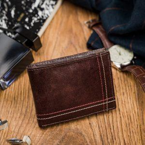 Kožená hnedá menšia pánska peňaženka RFID v krabičke ALWAYS WILD