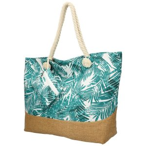 Veľká plážová taška s tyrkysovými lístkami