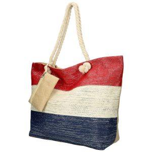 Veľká plážová taška červeno-krémovo-modrá so striebornou niťou