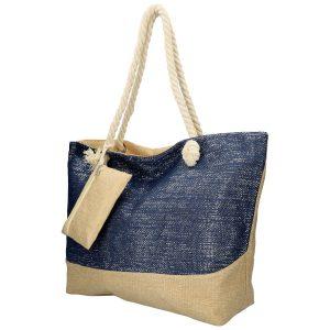 Veľká plážová taška modrá so striebornou niťou