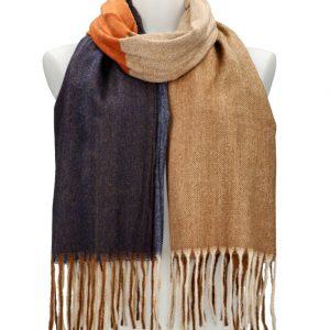 Farebný hnedý teplý dlhý zimný šál 207×65 cm