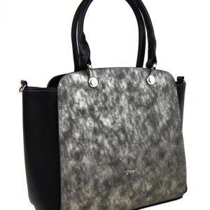 Čierna elegantná kabelka so zlatou patinou S682 GROSSO