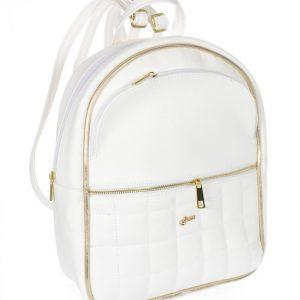 Elegantný dámsky módny batôžtek bielo-zlatý B05 GROSSO