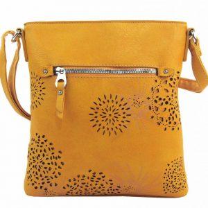 Crossbody dámska kabelka v kvetovanom dizajne žltá