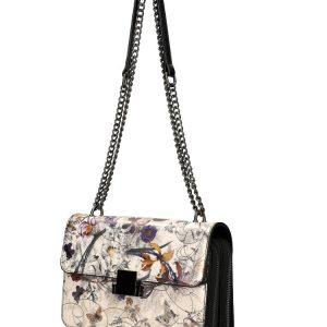 Crossbody dámska kabelka na retiazke s potlačou čierna