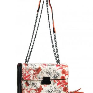 Crossbody dámska kabelka na retiazke s potlačou oranžová