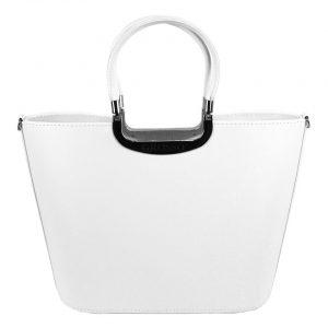 Elegantná biela matná kabelka so striebornými doplnkami S7 GROSSO