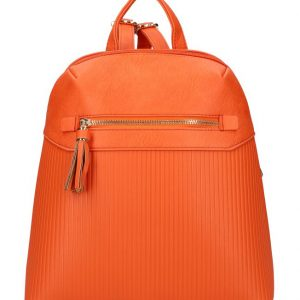 Korálovo oranžový módny dámsky batôžtek s čelným vreckom