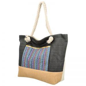 Veľká moderná plážová taška s čelným vreckom čierna