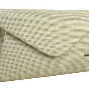 Luxusná béžová listová kabelka so zlatým nádychom