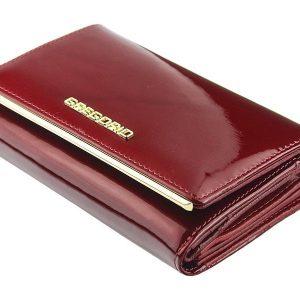 Gregorio čierna lakovaná dámska kožená peňaženka v darčekovej krabičke