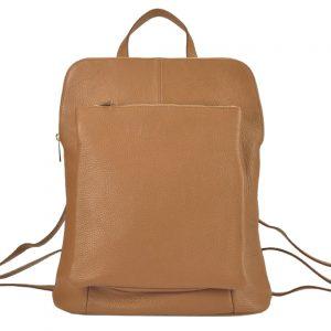 Kožený dámsky módny batôžtek s čelným vreckom Patrizia Piu camel hnedá